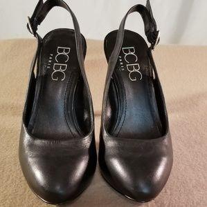BCBG Black Leather Sling Back Heels